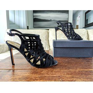 MANOLO BLAHNIK Suede Caged Sandals in Black